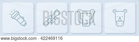 Set Line Flashlight, Monkey, Sniper Optical Sight And Rhinoceros. White Square Button. Vector