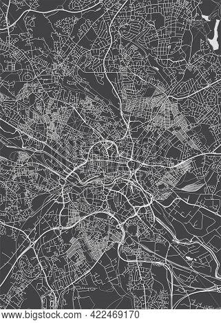 City Map Leeds, Monochrome Detailed Plan, Vector Illustration