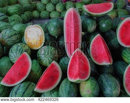 Close Up Of Fresh Watermelons Stacked In A Huge Pile At A Local Street Market In Labuan Ft,malaysia.