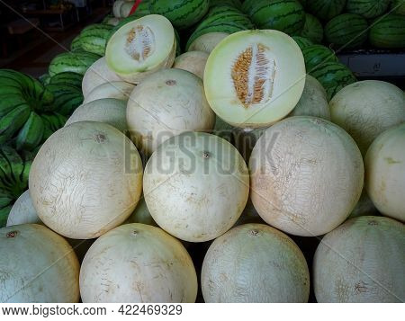 Close Up Of Honeydew Melon Fruits In Labuan Market. Eating Honeydew May Help Strengthen Your Bones A