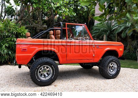 Palm Beach, Florida Usa - March 21, 2021: Orange Red Ford Bronco Sport Cabriolet Tuned Car