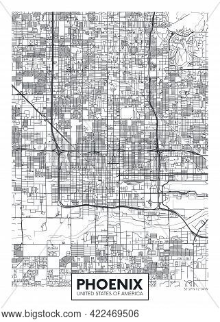 City Map Phoenix, Travel Vector Poster Design