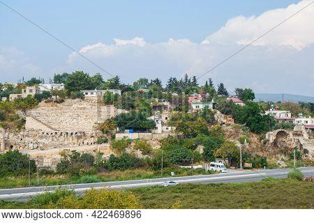 Panoramic View Onto Ruins On Roman Theater In Ancient City Elaiussa Sebaste, Kızkalesi, Turkey. It W