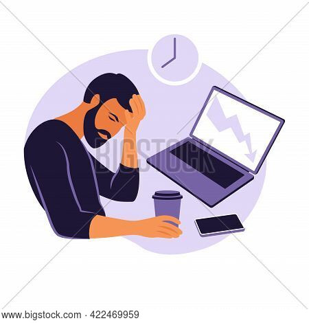 Professional Burnout Syndrome. Illustration Tired Office Worker Sitting At The Table. Frustrated Wor