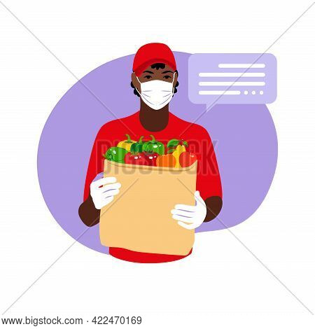 Delivery Of Goods During The Prevention Of Coronovirus, Covid-19. African Courier In A Face Mask Wit