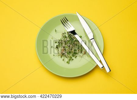 Green Sprouts Of Chia, Arugula And Mustard In A Green Round Plate, Top View. A Healthy Food Suppleme