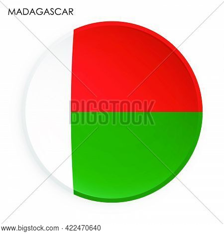 Madagascar Flag Icon In Modern Neomorphism Style. Button For Mobile Application Or Web. Vector On Wh
