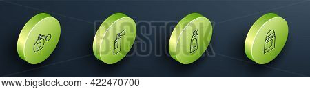 Set Isometric Line Perfume, , Spray Can For Hairspray And Antiperspirant Deodorant Roll Icon. Vector