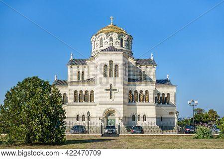 Building Of Saint Vladimir Cathedral, Sevastopol, Crimea. It's Built In Neo-byzantine Style In Xix N
