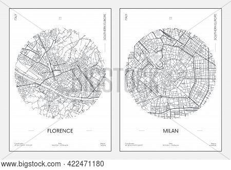 Travel Poster, Urban Street Plan City Map Florence And Milan, Vector Illustration