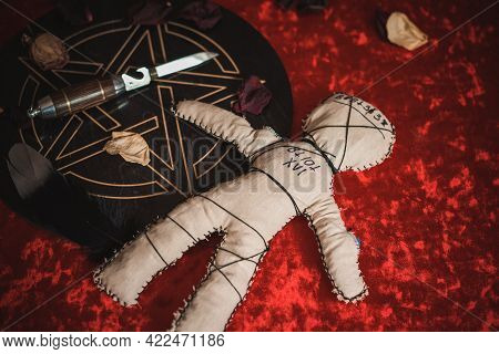 Voodoo Magic. Witchcraft With A Doll. Concept Of Magic.