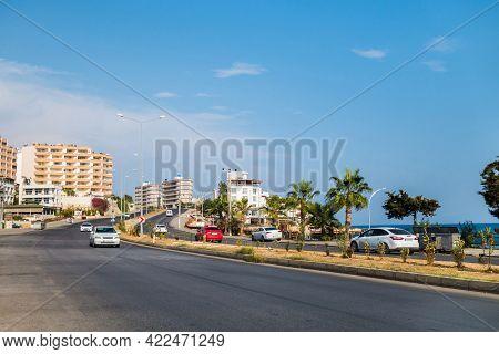 Panoramic View Onto Road Near Mediterranean Sea In Coastal Town Ayach (ayaş), Mersin Province, Turke