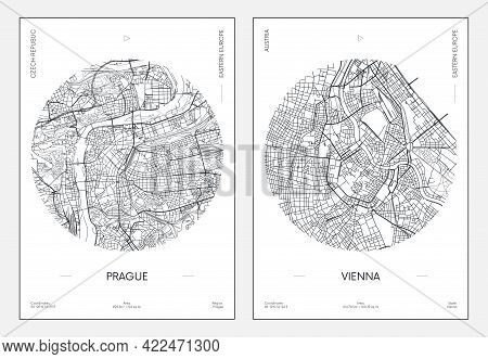 Travel Poster, Urban Street Plan City Map Prague And Vienna, Vector Illustration