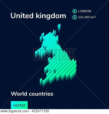 Uk Map. Stylized Isometric Neon Striped Vector 3d Map. Map Of United Kingdom Is In Green And Mint Co