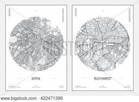 Travel Poster, Urban Street Plan City Map Sofia And Bucharest, Vector Illustration
