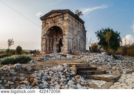 Mausoleum Of Queen Aba In Ancient City Kanli Divane Or Canytelis, Ayaş, Turkey. Tomb Built As Crypt