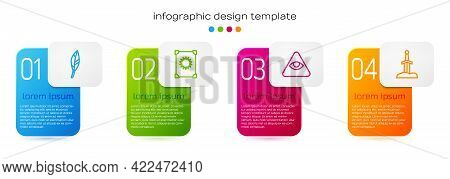 Set Line Magic Feather, Ancient Magic Book, Masons And Sword In Stone. Business Infographic Template