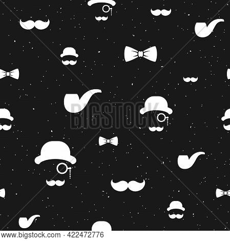 Seamless Pattern With Gentleman On Black Background. Silhouette Of Man's Head, Moustache, Tobacco Pi