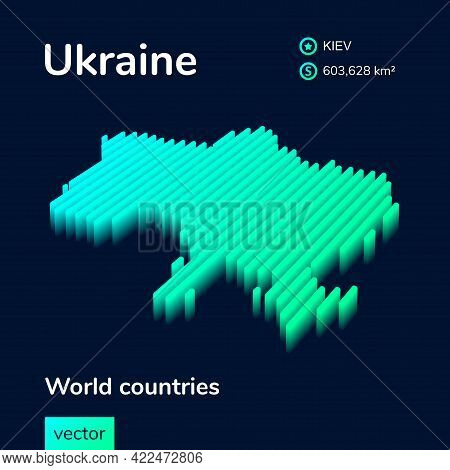 Stylized Striped Vector Neon Isometric Map Of Ukraine With 3d Effect. Map Of Ukraine Is In Green And