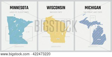 Vector Posters Detailed Silhouettes Maps Of The States Of America With Abstract Linear Pattern, The