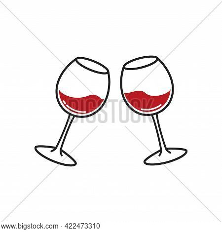 Two Glasses Of Wine. Cheers With Wineglasses Two Glasses Of Wine. Cheers With Wineglasses