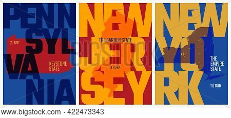 Vector Posters States Of The United States With A Name, Nickname, Date Admitted To The Union, Divisi