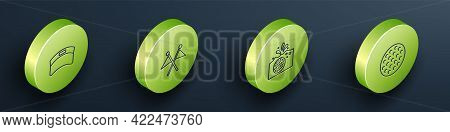 Set Isometric Line Sun Visor Cap, Golf Flag, Ball In Water And Icon. Vector