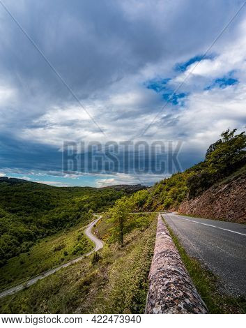 Spectacular Mountain Pass With Curved Road, Top View