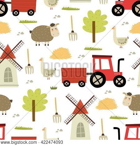 Seamless Pattern With Cartoon Sheep, Goose, Tractor, Mill, Tree, Decor Elements. Farm. Flat Colorful