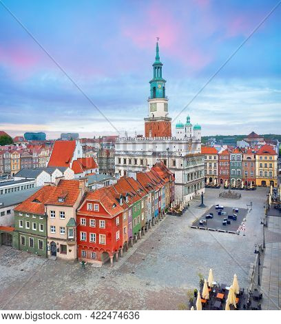 Poznan, Poland. Aerial View Of Market (rynek) Square With Small Colorful Houses And Old Town Hall