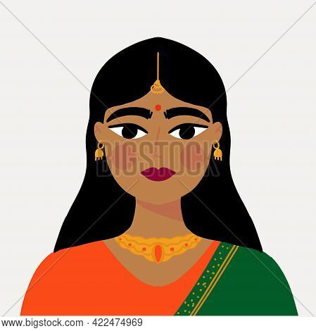Indian Desi Girls In Traditional Clothes With Traditional Gold Earrings