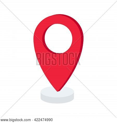 Pin Point 3d Icon. Location Icon With. Navigation Point Sign. Vector Illustration