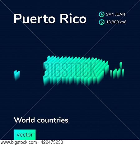 Puerto Rico Map. Stylized Isometric Neon Striped Vector 3d Map. Map Of Puerto Rico Is In Green And M