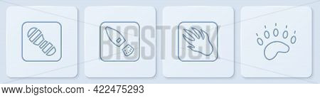 Set Line Human Footprints Shoes, Alligator Crocodile, And Bear Paw. White Square Button. Vector