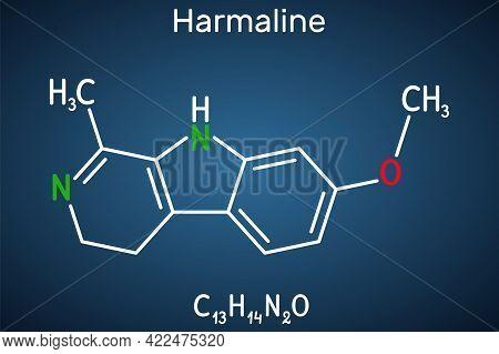 Harmaline Molecule. It Is Fluorescent Indole Alkaloid. Structural Chemical Formula On The Dark Blue