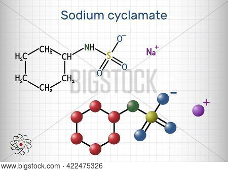 Sodium Cyclamate Molecule. Cyclamate Is An Artificial Sweetener, Food Additive E952 . Structural Che