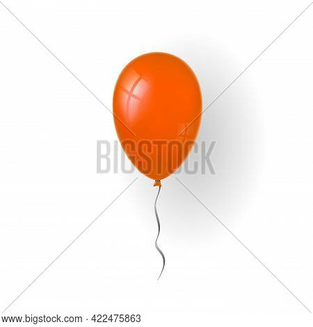 Balloon 3d Icon, Isolated On White Background. Baloon Mockup For Halloween Party Celebration. Realis