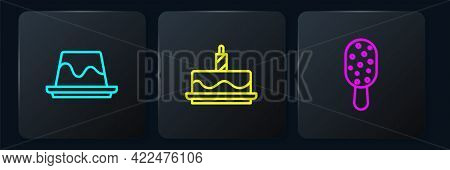 Set Line Pudding Custard, Ice Cream And Cake With Burning Candles. Black Square Button. Vector