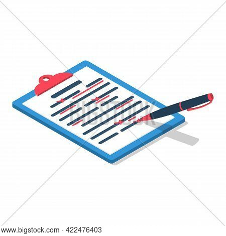 Editing Documents To Correct Errors. Proofreader Checks Transcription Written Text. Clipboard And Re
