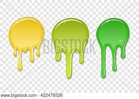 Drip Paint Spot 3d Set Isolated Transparent Background. Yellow, Green Ink Splash. Splatter Stain Tex