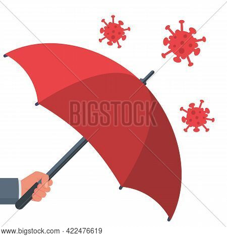Protecting Coronavirus Concept. Man In Hands Holds An Umbrella That Protects Against Bacteria Of Cor