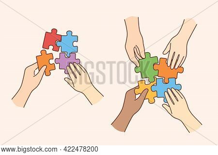 Teamwork, Multi Ethnic Team, Cooperation Concept. Hands Of Multicultural People Business Partners Wo