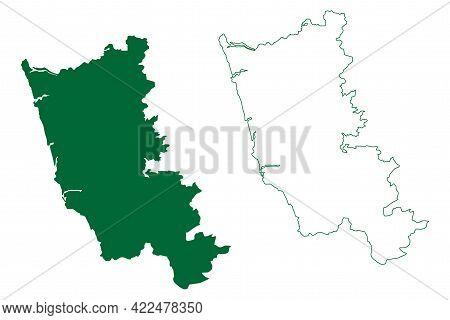 Sindhudurg District (maharashtra State, Konkan Division, Republic Of India) Map Vector Illustration,
