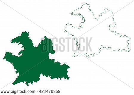 Solapur District (maharashtra State, Pune Division, Republic Of India) Map Vector Illustration, Scri
