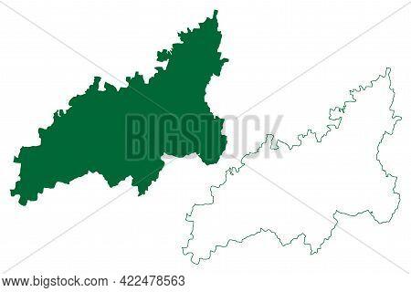 Washim District (maharashtra State, Amravati Division, Republic Of India) Map Vector Illustration, S