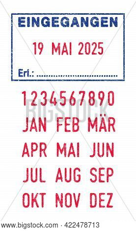 Vector Illustration Of The German Word Eingegangen (received) In Blue Ink Stamp And Editable Dates (