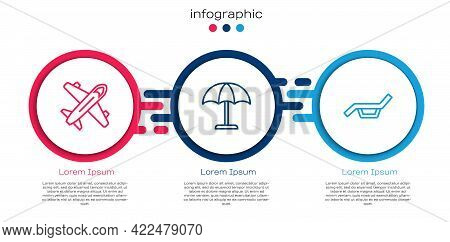 Set Line Plane, Sun Protective Umbrella And Sunbed And. Business Infographic Template. Vector