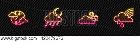 Set Line Windy Weather, Earth Planet With Clouds, Cloud Rain And Moon And Rainbow. Glowing Neon Icon