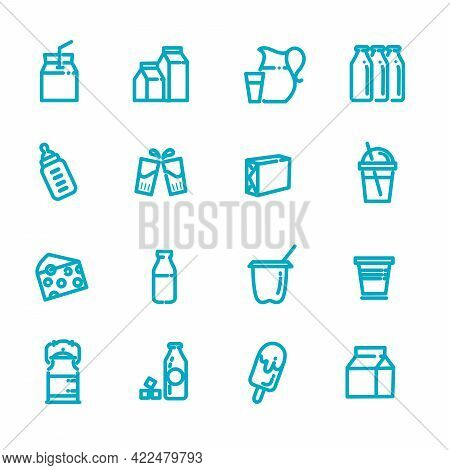 Alternative Milk, Vegan Milk, Vegetable Milk Simple Thin Line Icon Set Vector Illustration. Contains