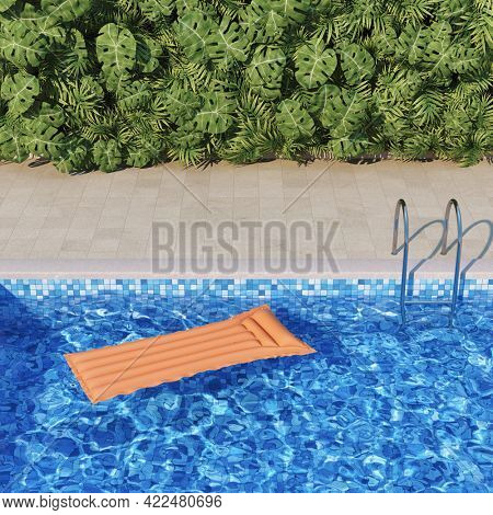 Pool with azure water and green garden in the backyard of a luxury villa, 3D illustration, rendering.